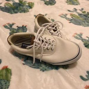 White and Brown Top-slider Sperry's